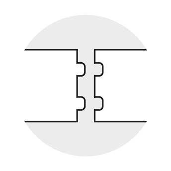 Dettaglio incastro maschio/femmina doppio